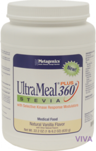 Metagenics UltraMeal plus 360 Stevia Natural Vanilla Flavor - 630 g Powder