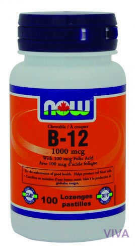 NOW Foods B-12 1000 mcg + Folic Acid - 100 lozenges