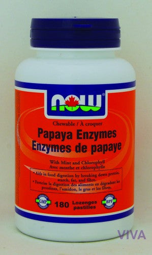 NOW Foods Papaya Enzymes, Chewable - 180 lozenges