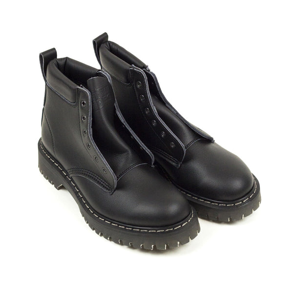 Vintage Deadstock Vegetarian Shoes 6 Eye Boots - Black Vegetan Micro (Made In UK 6)