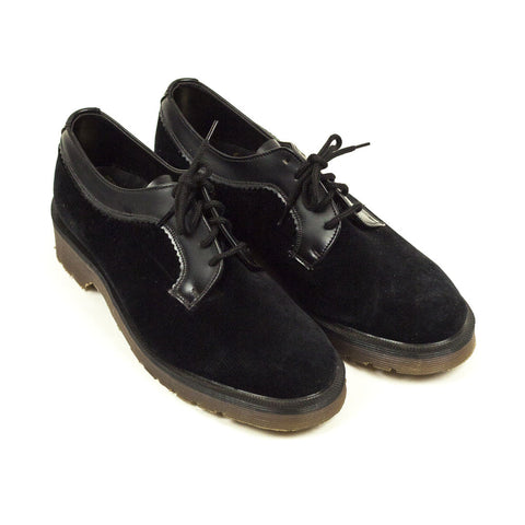Vintage Deadstock GT Hawkins & Dr Martens 5 Eye Shoes - Black Velvet (Made In UK 4)