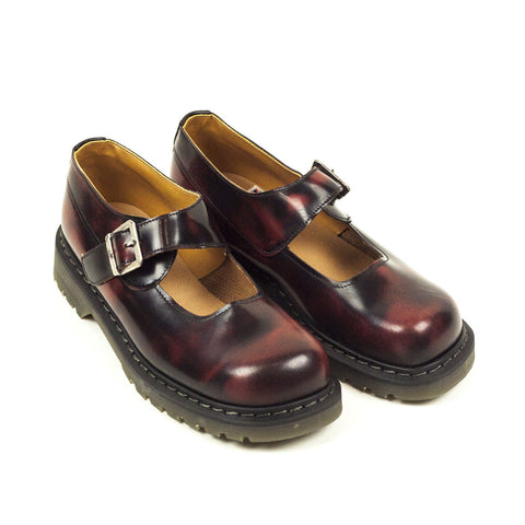 Vintage Deadstock Contak Strap Shoes - Burnished Burgundy (Made In UK 8)