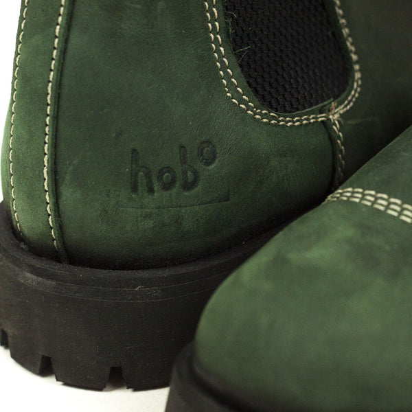 Vintage Deadstock Hobo Chelsea Boots - Green Leather (Made In UK 7)