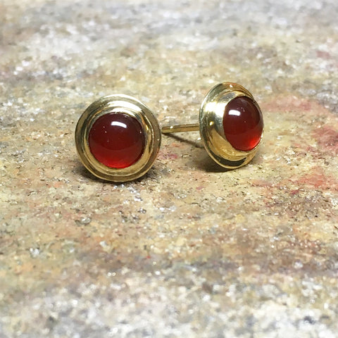 Carnelian Earrings in 18k Gold