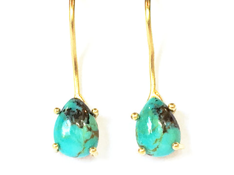 Turquoise and 18k Gold Earrings