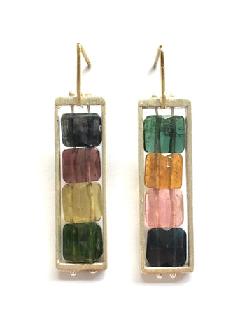 Tourmaline Earrings in Recycled Sterling Silver and 18k Gold
