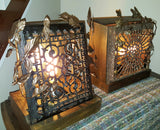 Glow of History - repurposed antique cast iron heating grate, vintage lighting, handmade metalwork - one of a kind lighting by Jack Riley Lighting and Metalwork