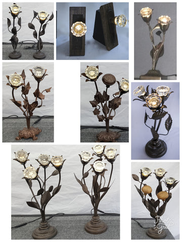 BLACK FRIDAY SALE PRICES - 20% OFF - Décor Lighting - Floral Arrangements Made With Antique Crystal Doorknobs - Many Sizes