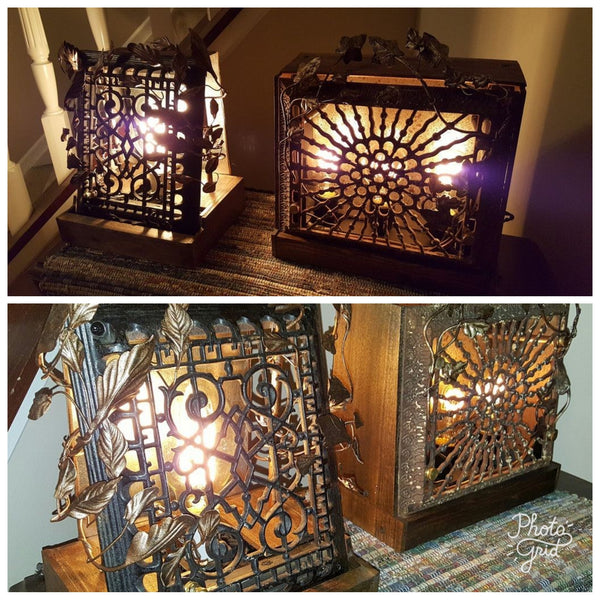 Glow of History - repurposed antique cast iron heating grate, vintage lighting, handmade metalwork.