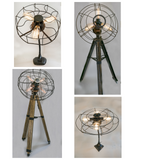 Light Breezes - antique fan cage, with vintage cast iron gooseneck Art Deco Base