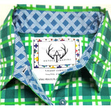 Boys green and white check shirt