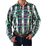 Men's green, navy, white check work shirt