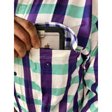 Men's aqua, purple , white large check work shirt