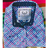 Boy's blue, purple, white work shirt