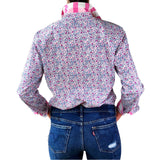 Women's pink and blue floral work shirt