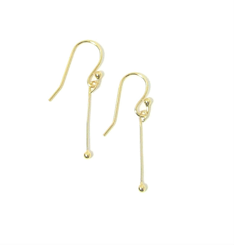 14K Gold Bar Drop Earrings - Woven Noise