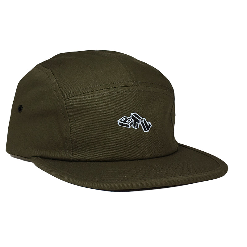 Blue Tile Lounge 5 Panel Hat Block Logo Olive