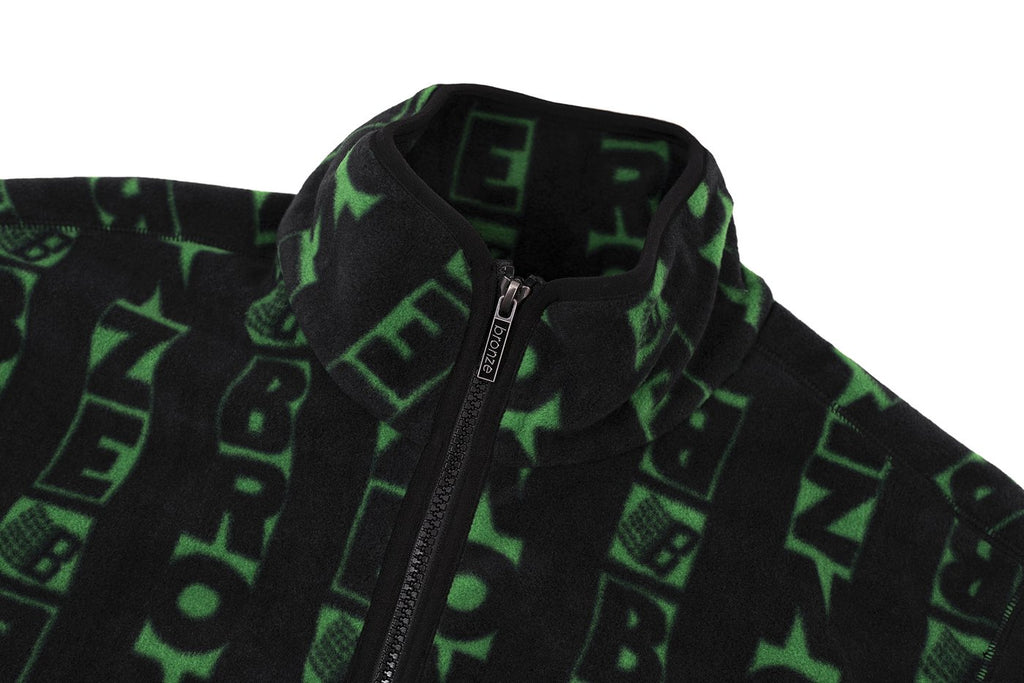 Bronze Full Zip Fleece Sweater Vert Black/Green
