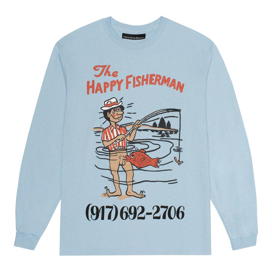 Call Me 917 Long Sleeve T-Shirt Happy Fisherman Light Blue