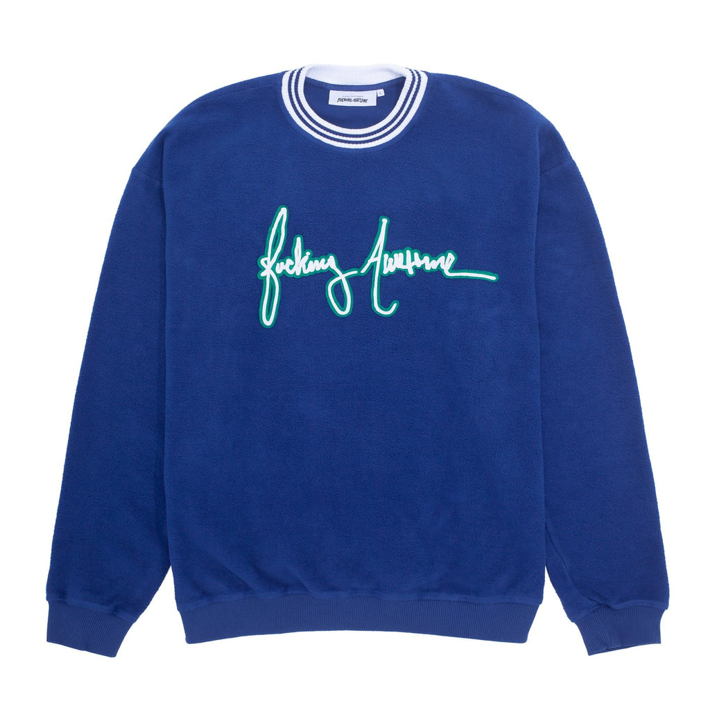 Fucking Awesome Crew Neck Sweater Cursive Navy