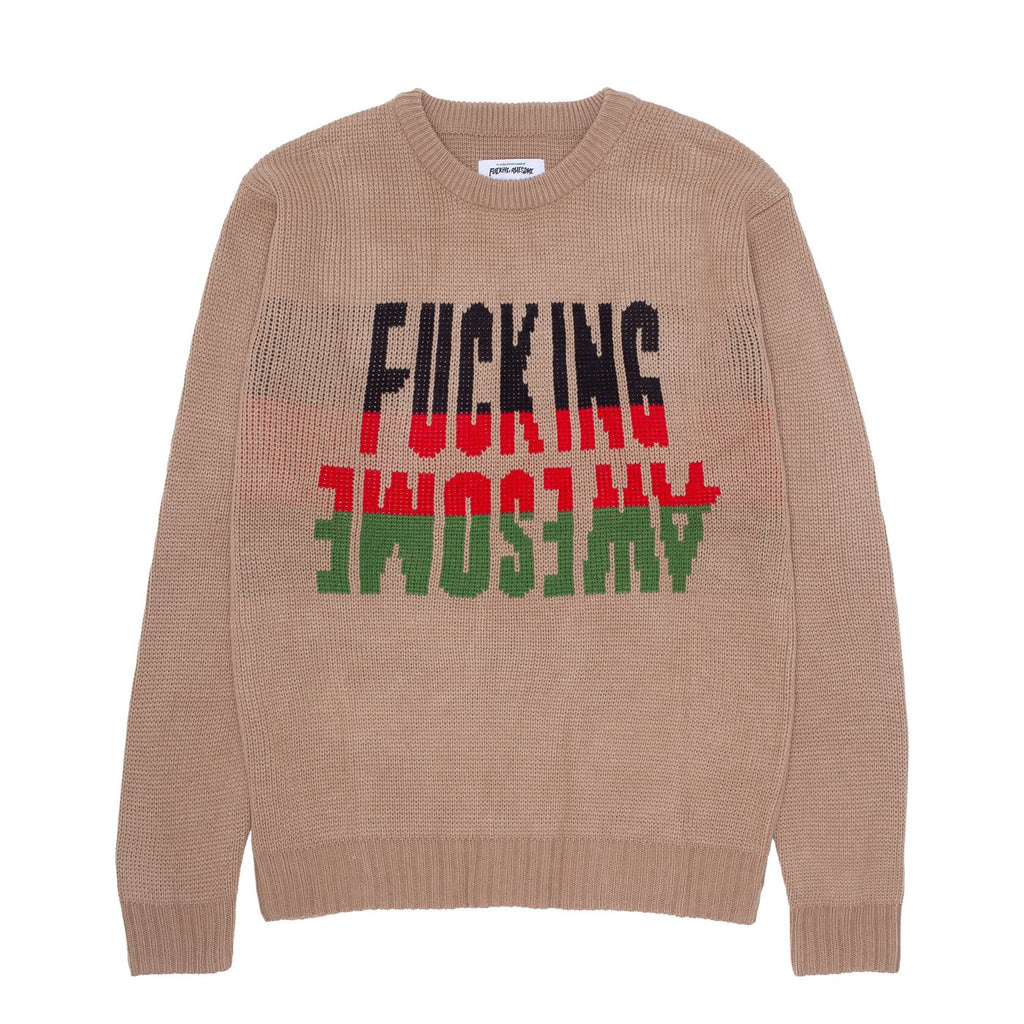 Fucking Awesome Knit Sweater Intarsia Sand