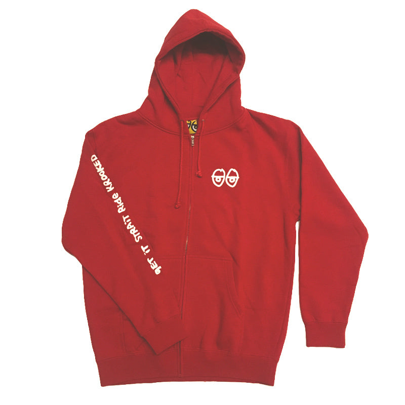 Krooked Zip Up Hood Stock Strait Eyes Red
