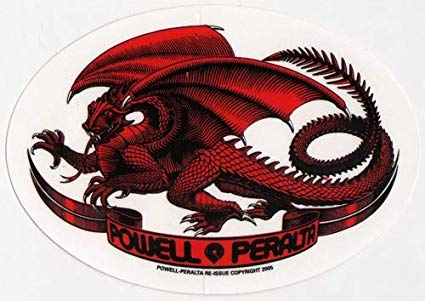 Powell Peralta Sticker Oval Dragon Red