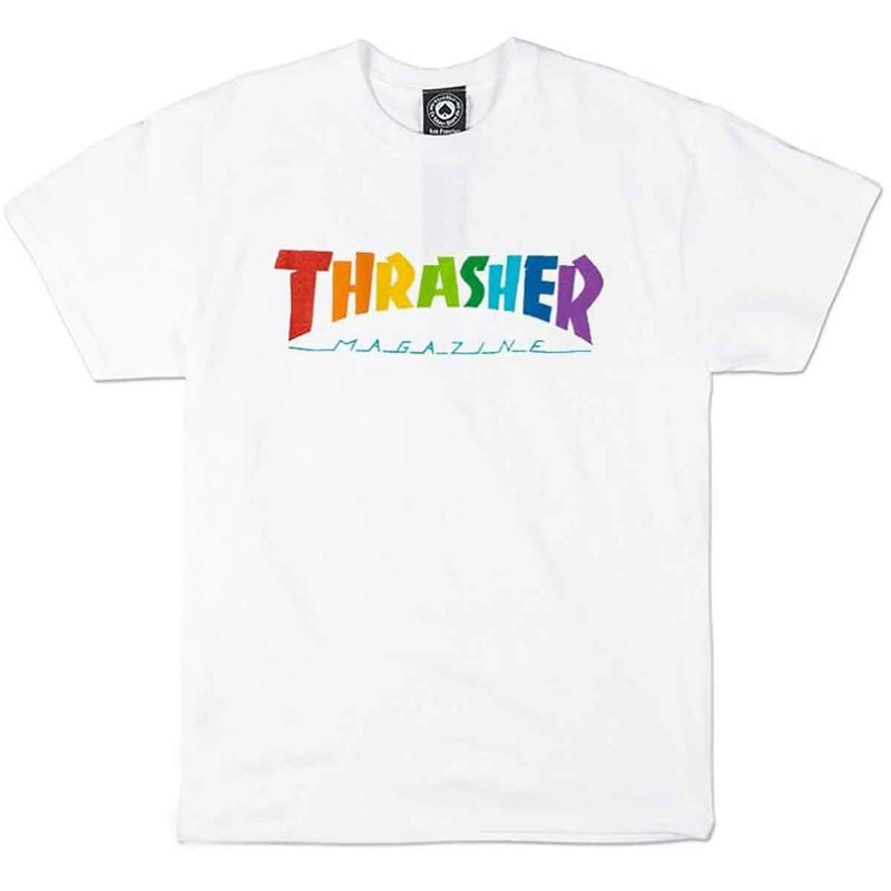 Thrasher T-Shirt Rainbow Mag White