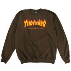 Thrasher Crewneck Sweater Flame Logo Brown