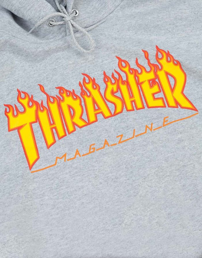 Thrasher Hood Flame Logo Grey