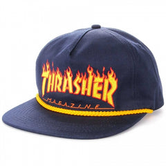 Thrasher Snapback Hat Flame Rope Navy Blue
