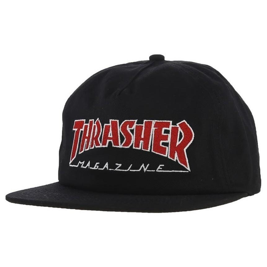 Thrasher Snapback Hat Outlined Black