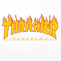 Thrasher T-Shirt Flame Logo White
