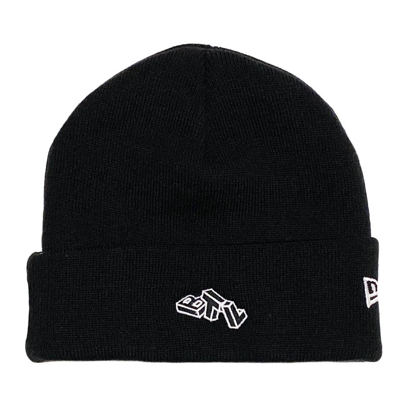 Blue Tile Lounge Beanie Block Logo New Era Black