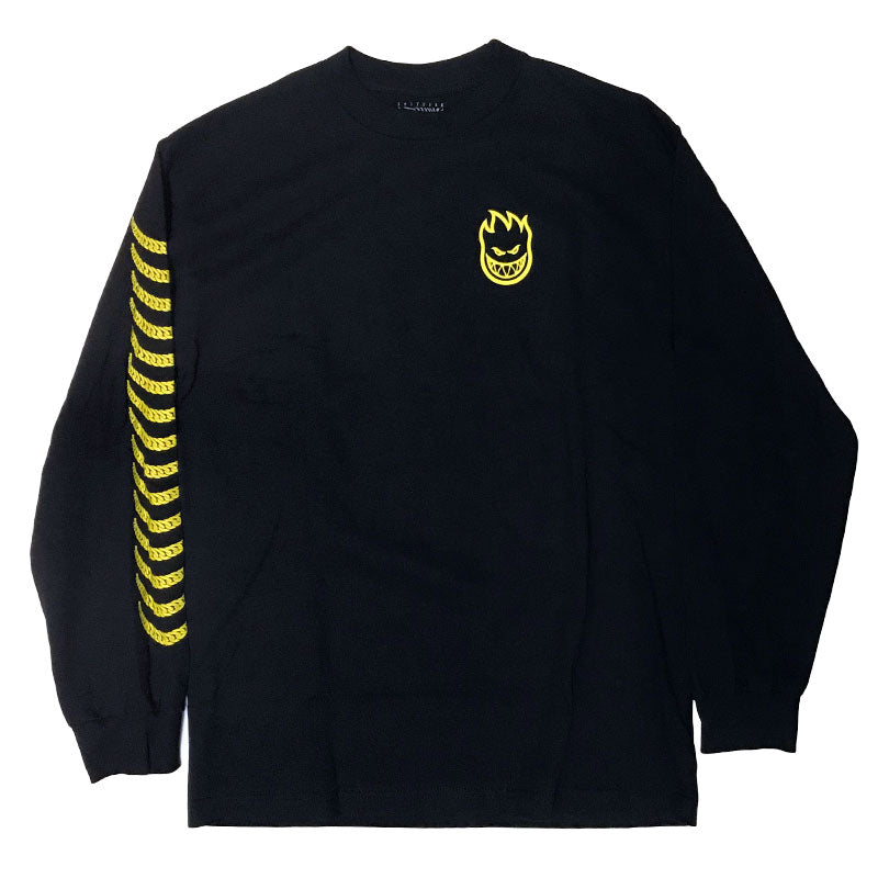 Spitfire Long Sleeve T-Shirt Chain Swirl Black/Yellow