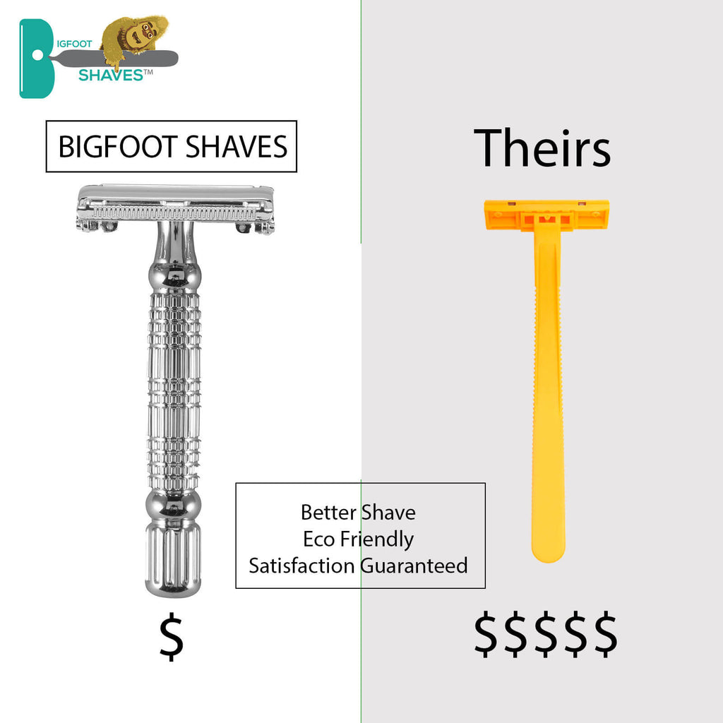 Men's Grooming Products - Bigfoot Shaves Double Edge Razor And Swedish Stainless Steel Safety Razor Blades For Men - Bigfoot Twist Modern