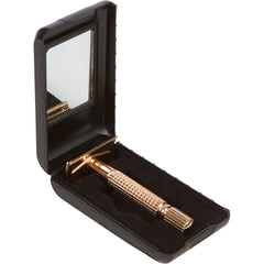 With Casing and mirror's inside, Gleaming Gold - 3Piece Classic shave for men