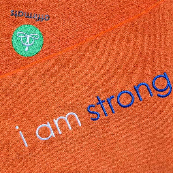 "affirmats ""i am strong"" yoga towel"