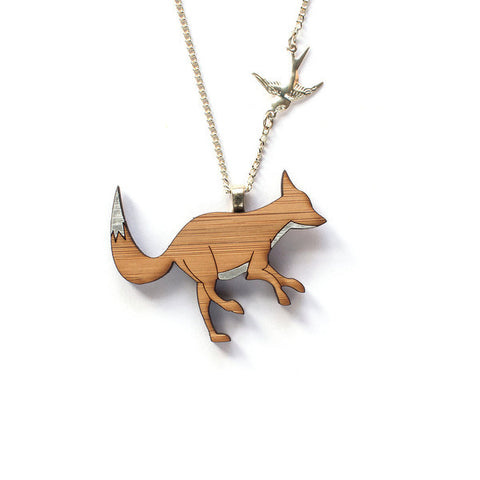 One Happy Leaf Silver Fox Necklace