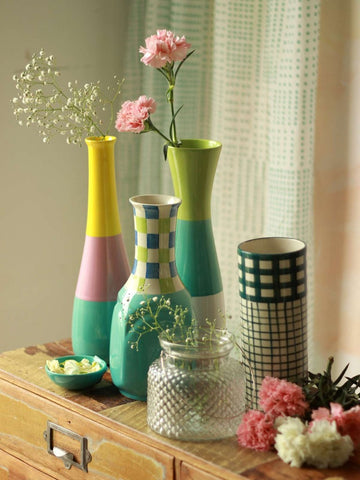 tri color bottle ceramic vase