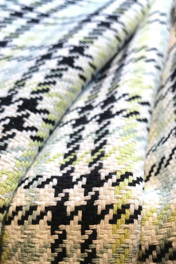 Houndstooth Grey Lime Upholstery Fabric Freedom Tree