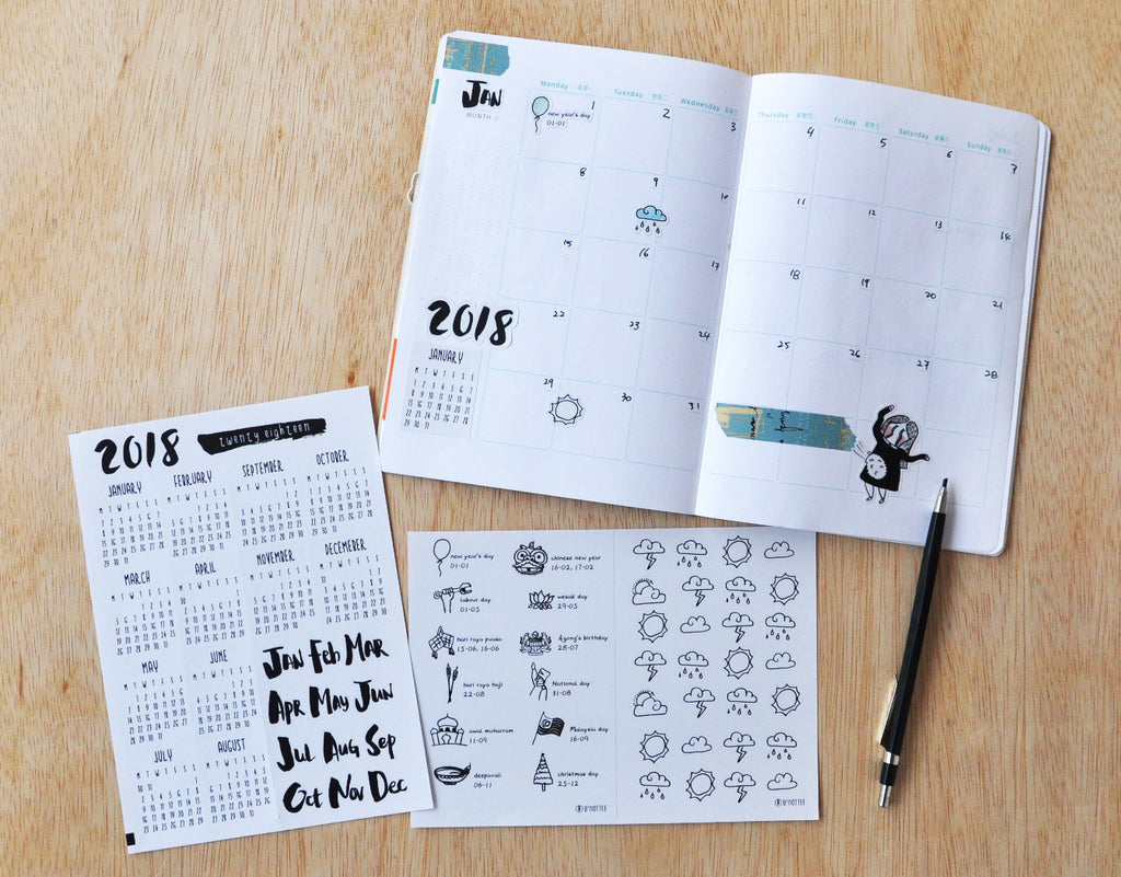 2018 Calendar, Malaysian Holiday & Weather Sticker Set