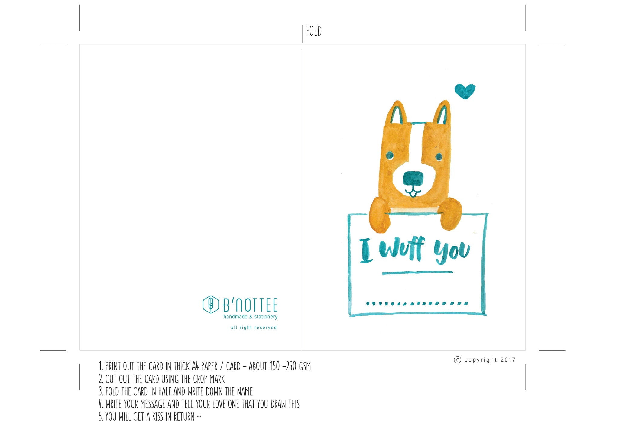 photo relating to Printable Love Card titled Printable I Wuff By yourself Corgi Pet dog Take pleasure in Card - BNottee