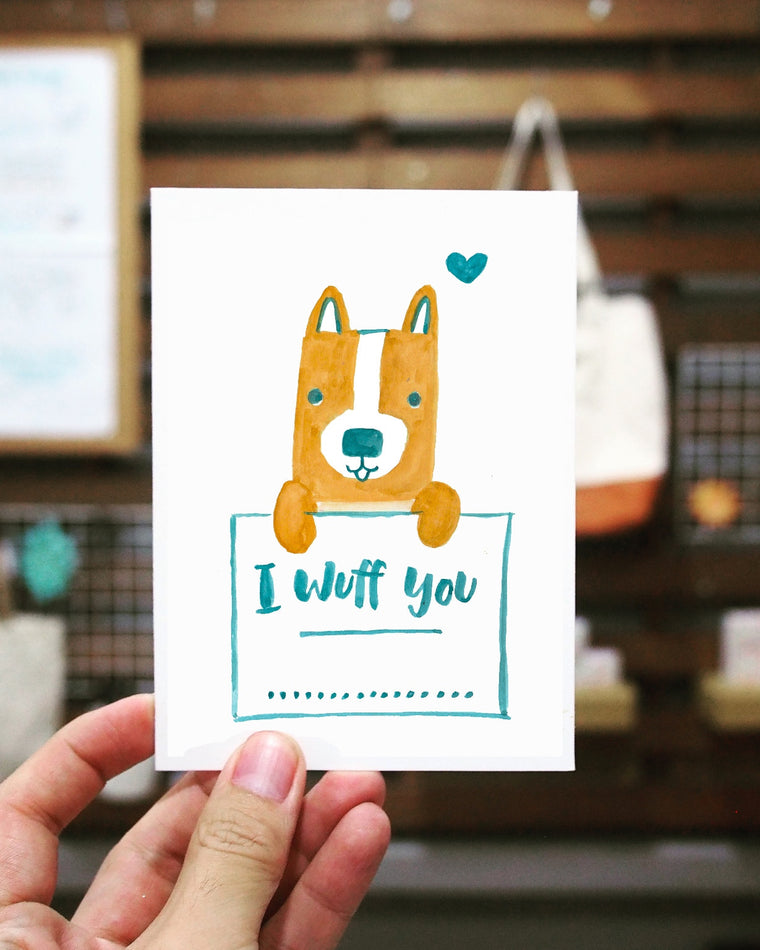 Printable I Wuff You Corgi Puppy Love Card