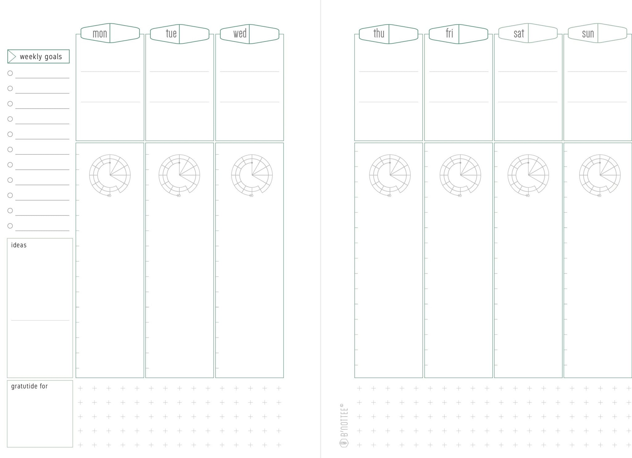 image regarding A5 Planner Printable titled Absolutely free Weekly A5 Planner Printable - Nottee 3.0 - BNottee