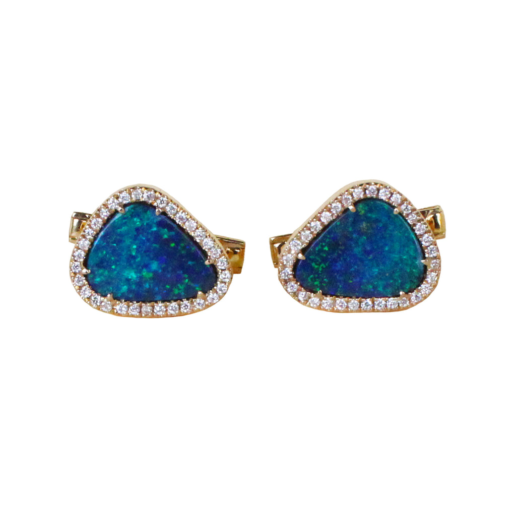 Blue Australian opal doublet diamond solid 14k yellow gold cufflinks - Ready to ship CLICK HERE - Sarah Hughes - 1