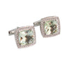Mint quartz cushion cut and white sapphire silver cufflinks - READY TO SHIP