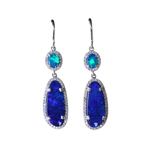 Electric blue Australian opal diamond solid silver dangle earrings - Ready to ship - Sarah Hughes - 1
