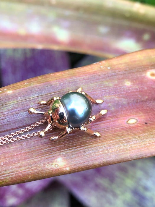 Beetle bug insect Tahitian pearl, 14k rose gold pendant necklace