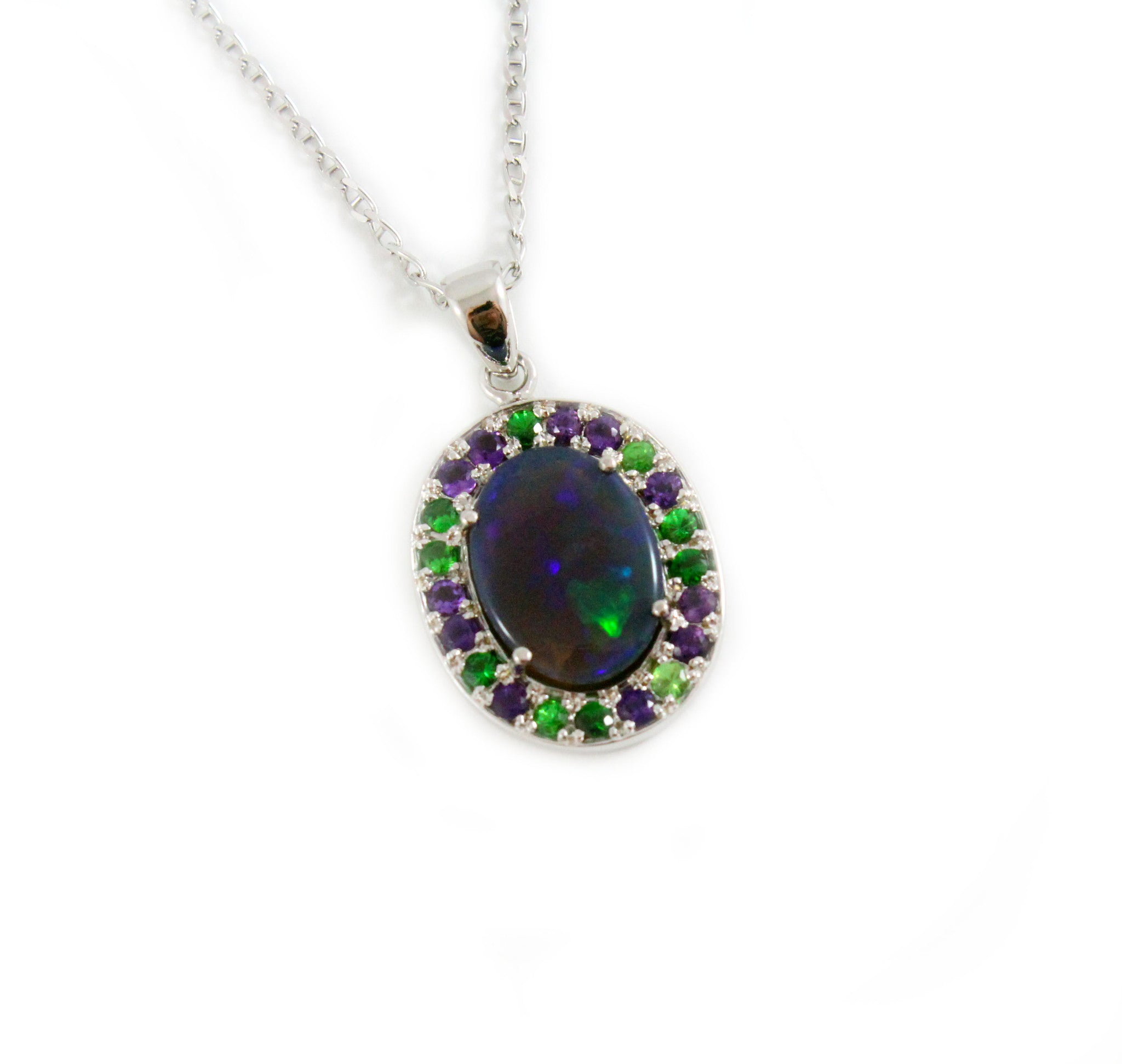 Australian jelly opal Tsavorite garnet and amethyst halo white gold pendant necklace - Sarah Hughes - 3